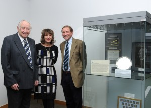 WY88771 Wanderers Exhibition launch l to r Keith Blagbrough (Director WW Trust) Karen Adams (Frank Adams daughter) and John Bignell (ex players Assoc.) 8.12.14 Ann Priest by Ann Priest