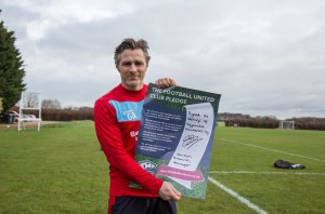 Wycombe Wanderers Manager Gareth Ainsworth holds up a signed Football United Club Pledge poster during Wycombe Wanderers Training at High Wycombe, England on 4 February 2016. Photo by Andy Rowland / PRiME Media Images.