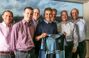 Luke O'Nien with sponsors during the Wycombe Wanderers Player Sponsors End of Season Dinner at Adams Park, High Wycombe, England on 12 April 2016. Photo by David Horn / PRiME Media Images.